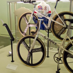 Graeme Obree's 'Old Faithful' replica bicycles by Ed Webster licensed under CC-BY-2.0.