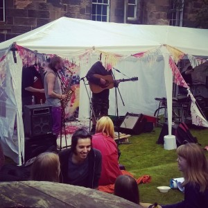 Glasgow University Environmental Sustainability Team (GUEST) bicycle powered stage for the Hidden Lane Festival in Freshers' Week 2015. Samson Sounds playing.
